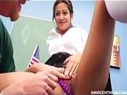 School girl hitting on teacher