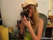 Sexy Faith Plays With Her Dog