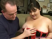 Watch this chubby babe get fucked between her big boobs