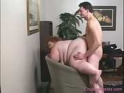 BBW redhead sexurity guard sucks cock and gets fucked