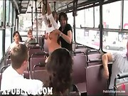 Blonde blowjob and fuck in bus
