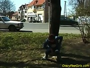 Teen peeing in public