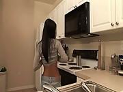My thai girl stripping in a kitchen