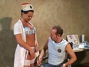 Nurse fucking in stockings and uniform
