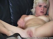 Blonde masturbation teacher is naked while demoing how to jerk o