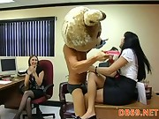 Male strippers tempting office workers with fake and real cocks