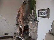 Sexy dancing before fireplace