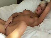 Hot blonde megan on the bed