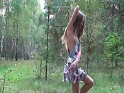 Nude 18yo girl stripping in the forest