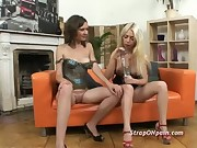 Insane size strap on lesbo sex with pussies stretched