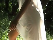 Sexy white dress on nude girl