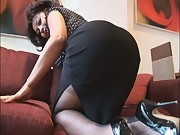 Mature big tits Danica talks dirty as she strips and teases