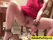 Bukkake fetish slut piss and blowjob