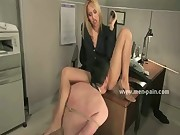 Wild blonde with round ass taking her boss and dominating him in