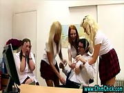 Naughty cfnm schoolgirls get hot
