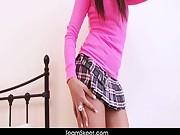 SoloInterviews Brunette small tits babe Megan Coxxx strip tease