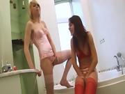 Italian serious dildo testing on toilet