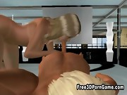 3D cartoon blonde hottie sucks cock and gets licked