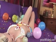 Very hot blonde Stevie Shae dressed in candy bra as a birthday p