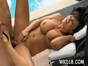 Two men cum on nasty slut
