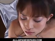 Horny MiLF in black stockings on her knees sucking dick