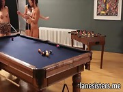 Lane sisters playing pool and lesbo sex