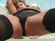 Black panties cameltoe