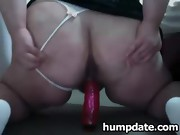 Horny BBW with massive ass rides her toy