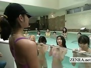 Subtitled Japanese group skinny dipping striptease