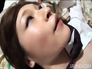 Adorable Yuu gives her boss a blowjob and he leaves her sticky w