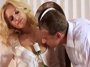 Sweet blond fucking hard in bedroom
