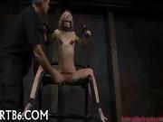 Bondage  beautiful babe Shows Fear