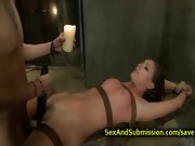 Hot brunette tied up and rough fucked
