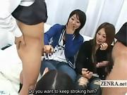 Subtitled CFNM Japanese amateur gyaru handjob lesson