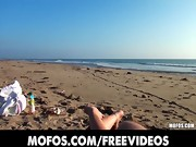 Beautiful brunette amateur sucks and fucks at the beach