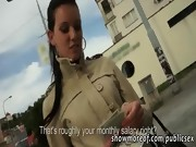 Lovely amateur girl sucks cock and pounded in public