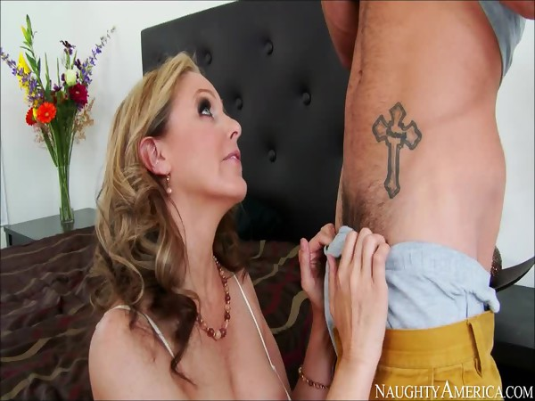 Julia Ann gives blowjob to her sons friend